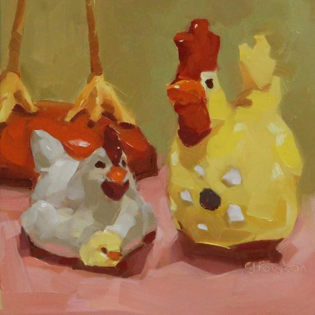 """Friendships, The Traveling Chicken"" original fine art by C J Roughton"