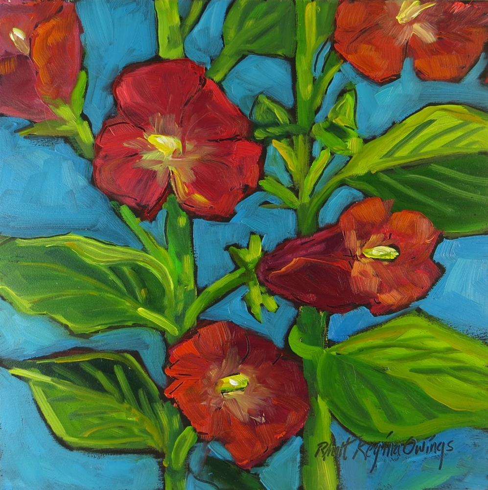 """Red Hollyhocks"" original fine art by Rhett Regina Owings"
