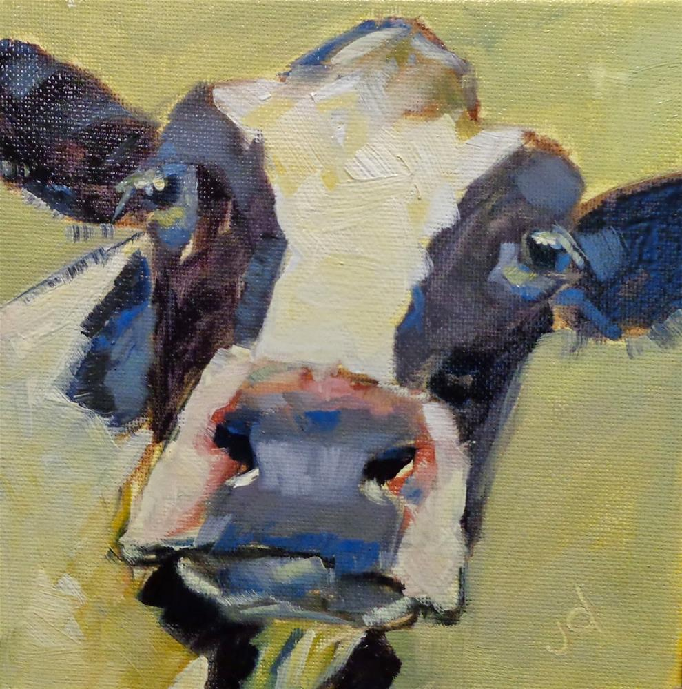 """""""Cow 22...What were you thinking?"""" original fine art by Jean Delaney"""