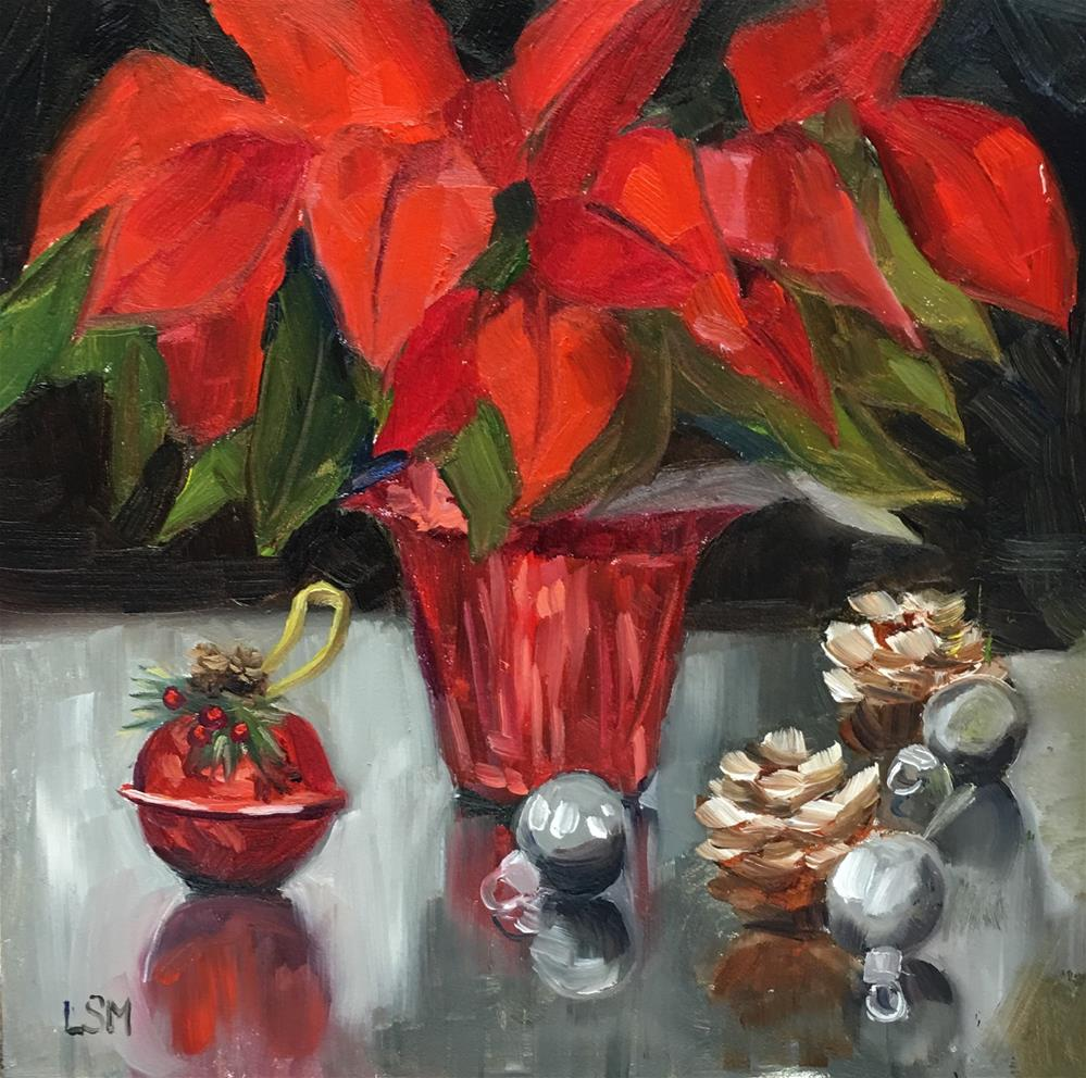 """Poinsettia Posing"" original fine art by Linda Marino"