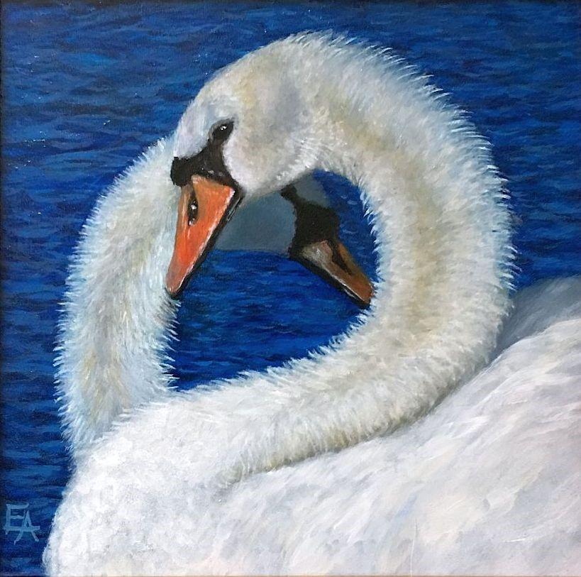 """""""Glances From a Lake, Framed"""" original fine art by Elizabeth Elgin"""