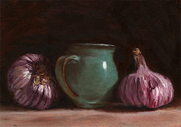 """Purple garlic with ceramic pot"" original fine art by Peter J Sandford"