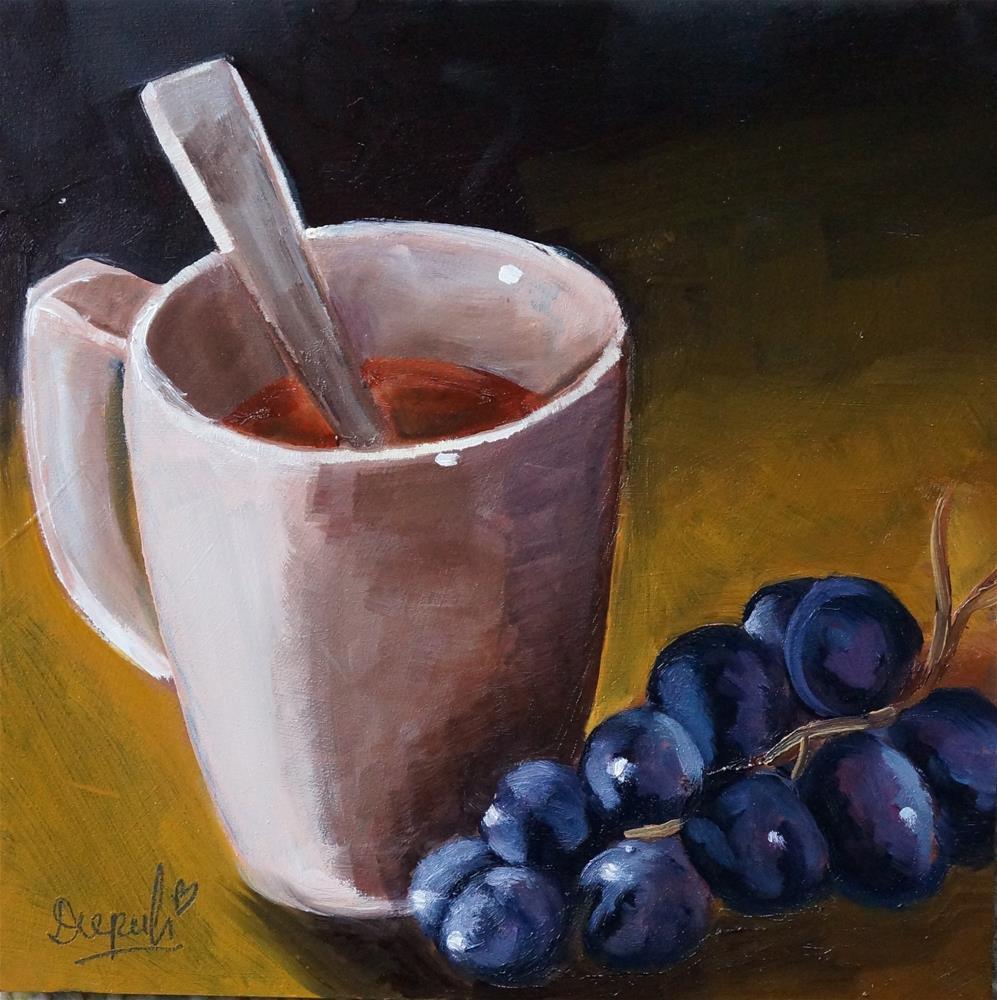"""Tea Cup with Grapes"" original fine art by Dipali Rabadiya"