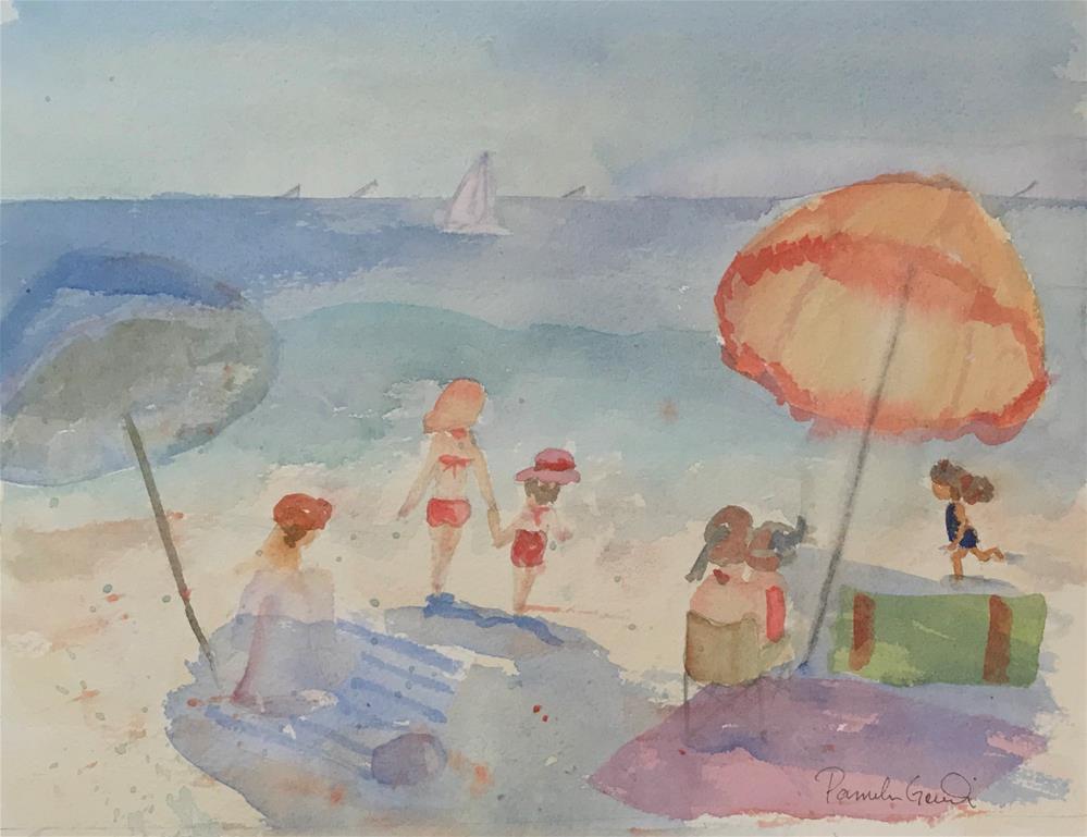 """Playing at the Beach"" original fine art by Pamela Gorecki"