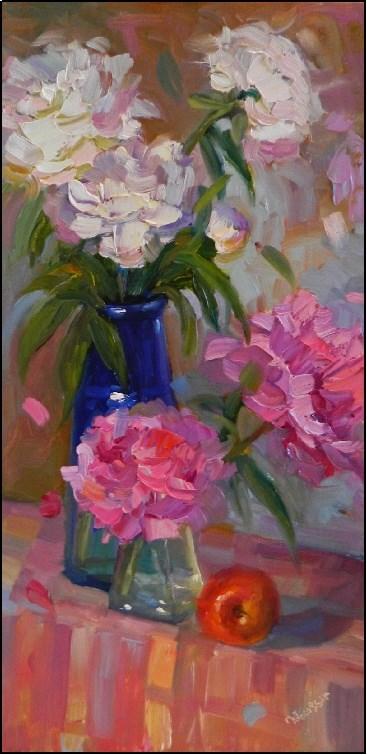 """Peony Party, 10x20, oil on linen, paintings of peonies, Maryanne Jacobsen art, white peonies, pink"" original fine art by Maryanne Jacobsen"