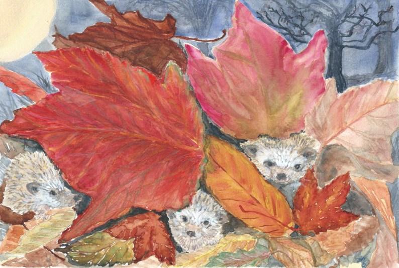"""Fall Hedgehogs"" original fine art by Laura Denning"