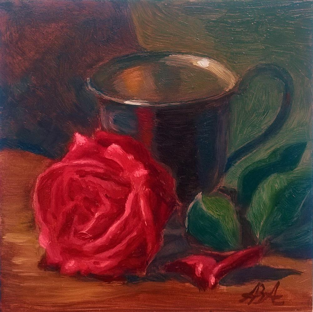 """""""Red Rose with Pewter Cup"""" original fine art by Adriana B. Almquist"""
