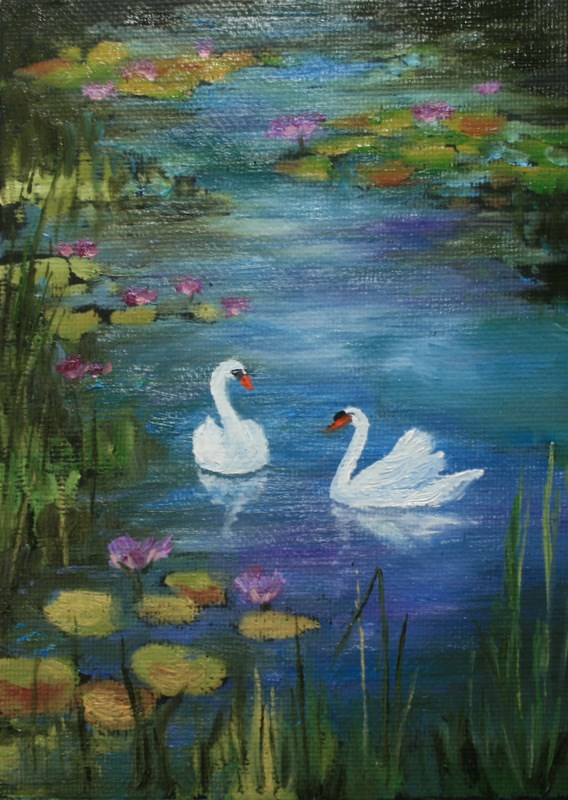 """Swans in Monet's Garden"" original fine art by Jean Nelson"