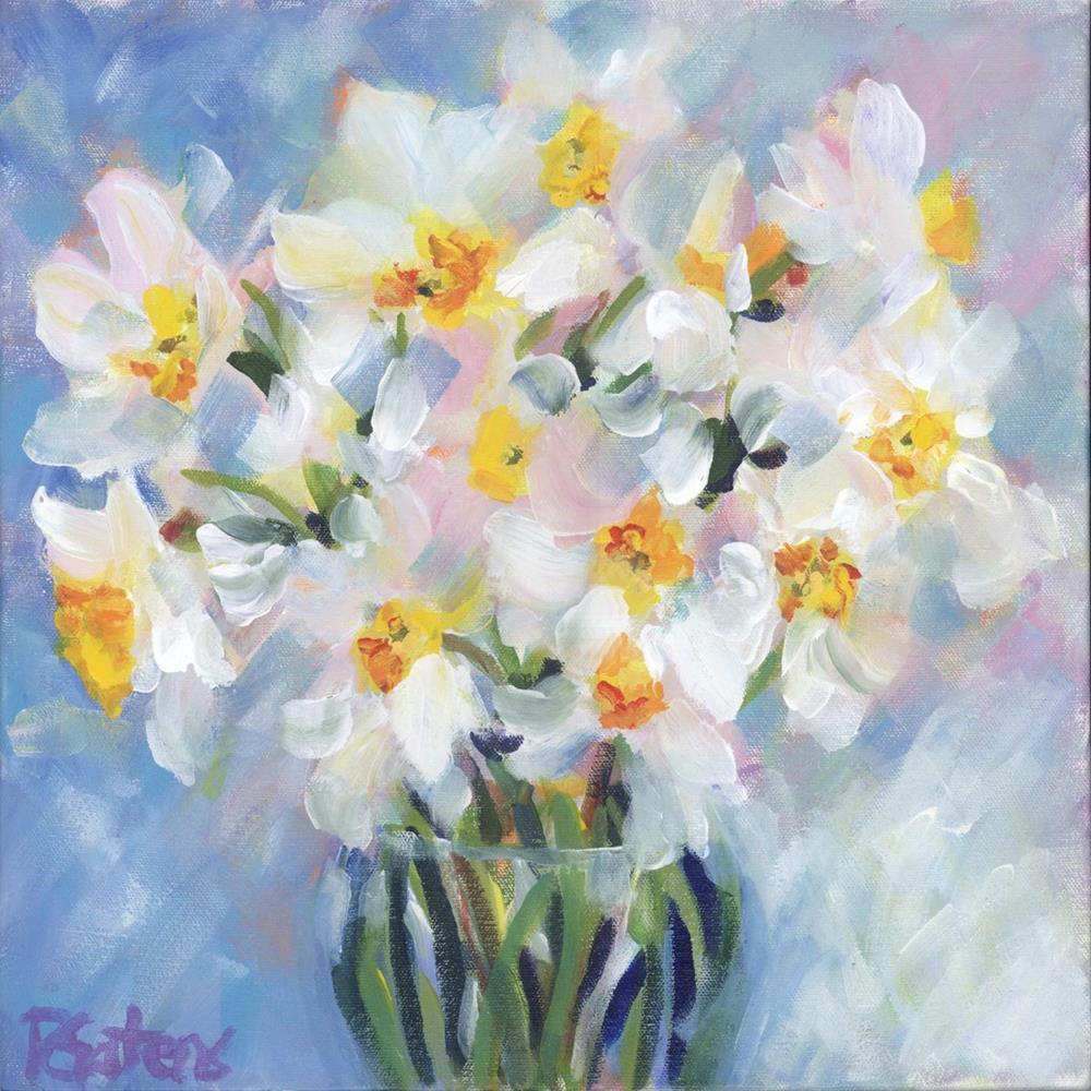 """White Daffodil Bouquet"" original fine art by Pamela Gatens"
