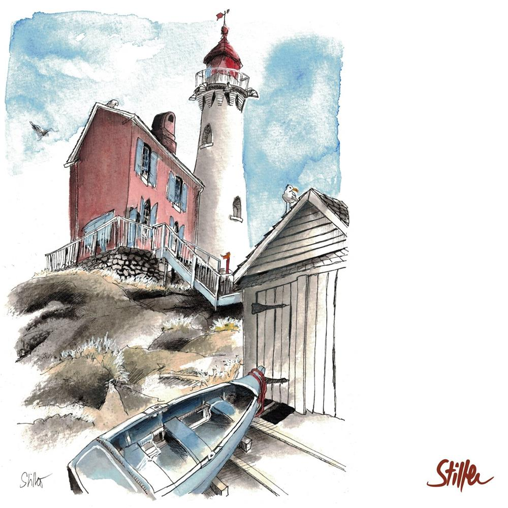 """3427 Lighthouse Montauk"" original fine art by Dietmar Stiller"