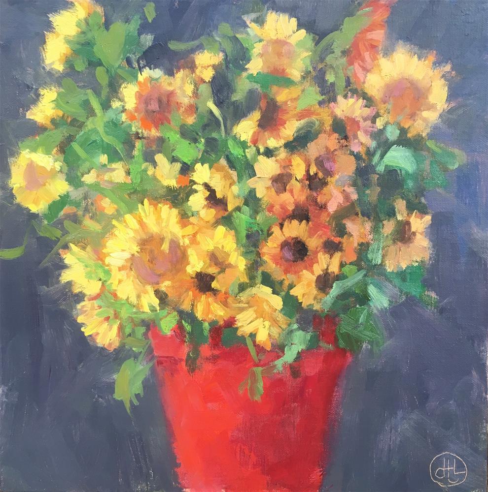 """""""flower bucket"""" original fine art by Dottie  T  Leatherwood"""