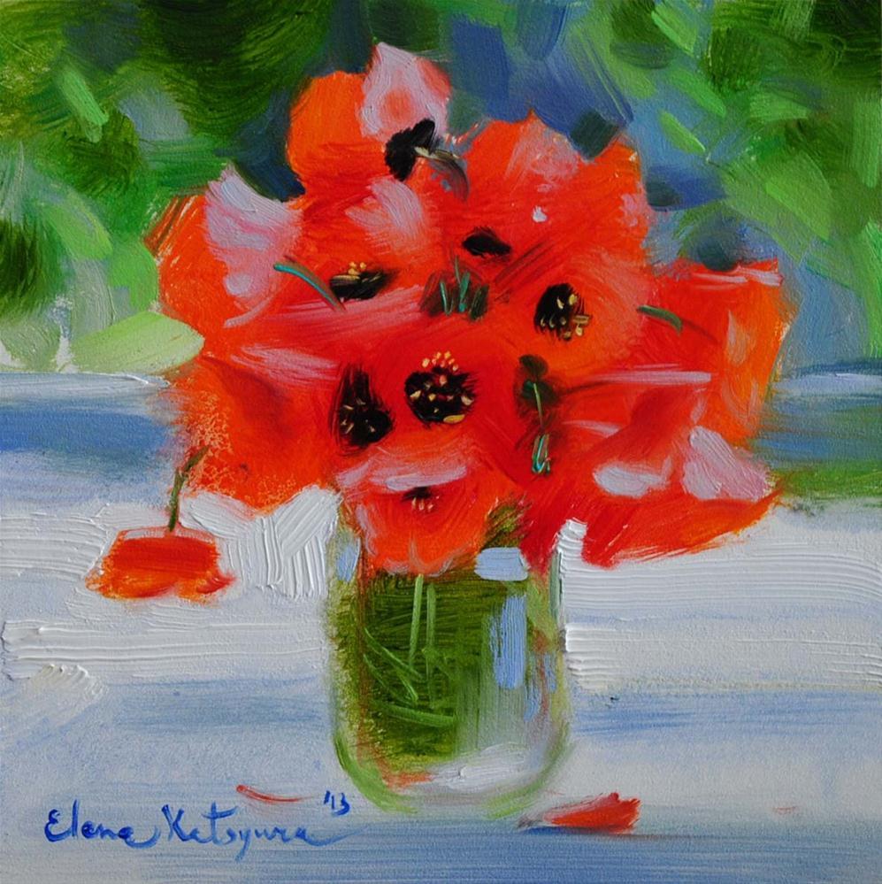 """""""Poppies"""" original fine art by Elena Katsyura"""