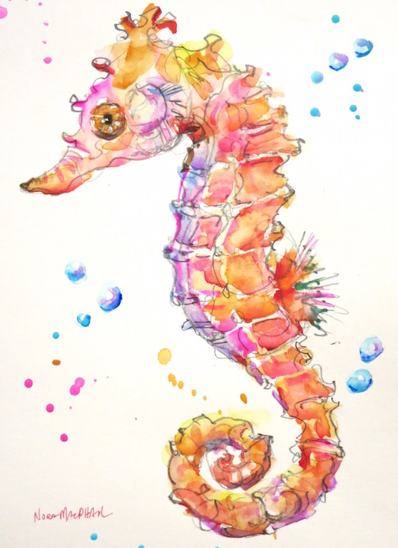 """Seahorse Sally"" original fine art by Nora MacPhail"