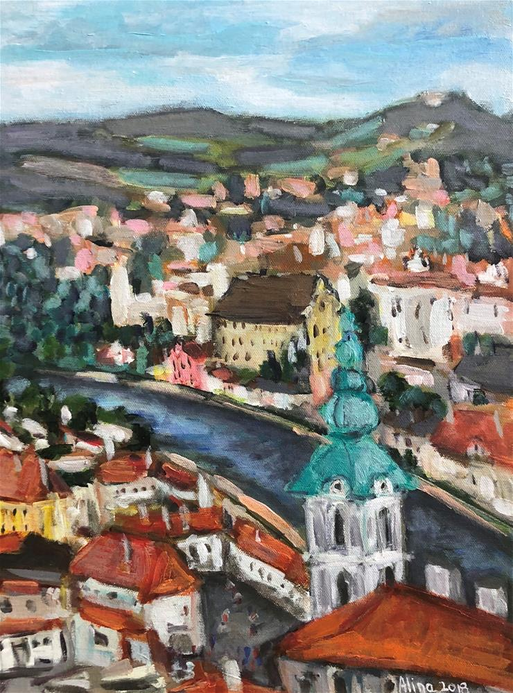 """Cesky Krumlov View from the Castle"" original fine art by Alina Vidulescu"