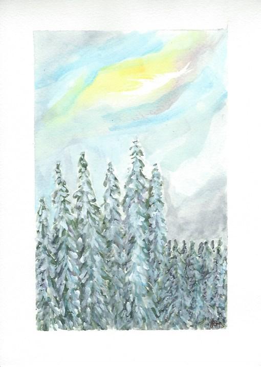 """""""Last Light on Mt Hood"""" original fine art by Laura Denning"""