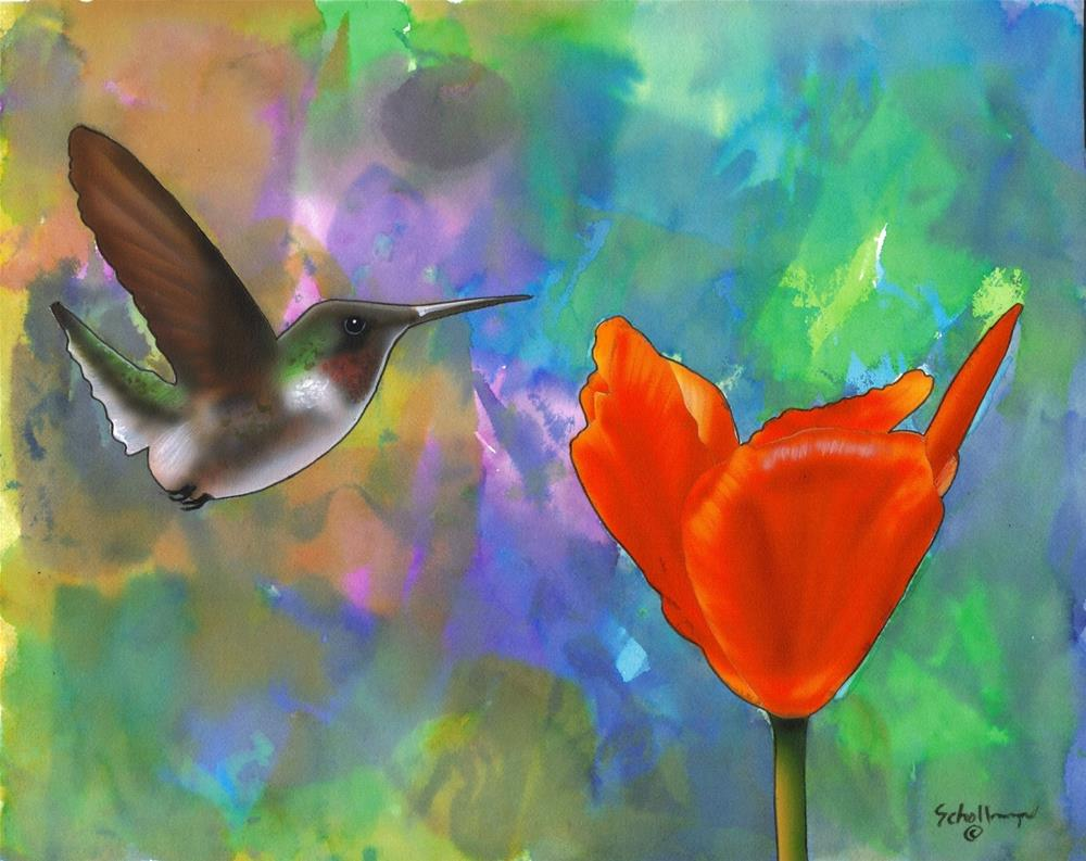 """""""Hummingbird with Abstract"""" original fine art by Fred Schollmeyer"""