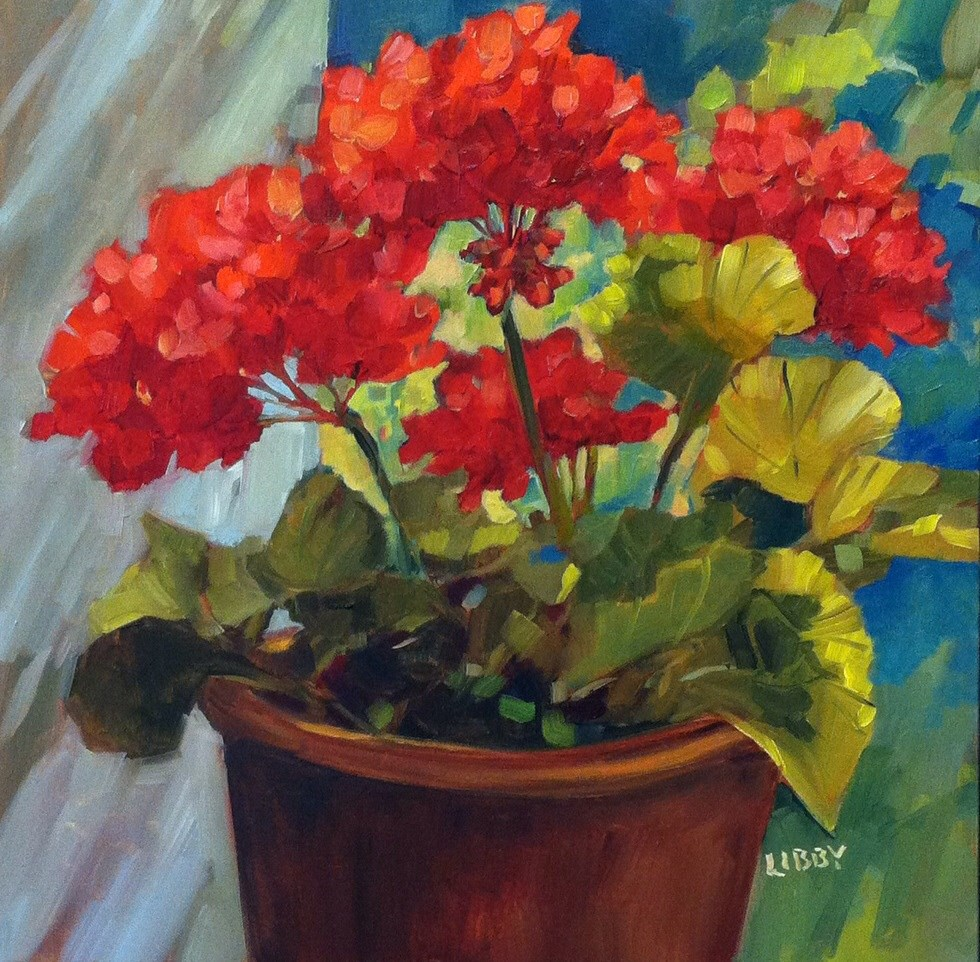 """Patio Geraniums"" original fine art by Libby Anderson"