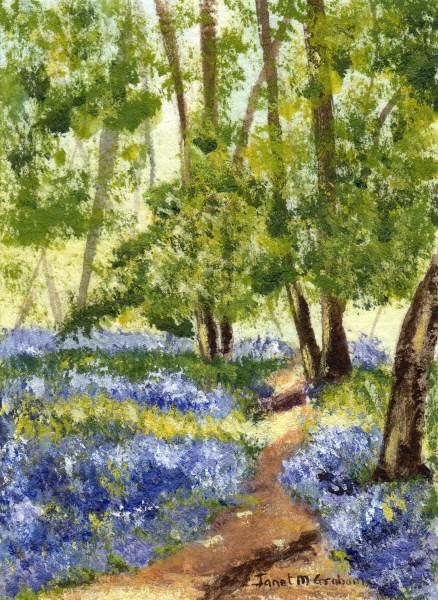 """Bluebell Walk ACEO"" original fine art by Janet Graham"