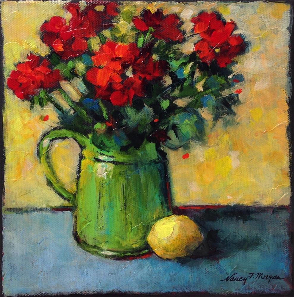 """Geraniums With Lemons"" original fine art by Nancy F. Morgan"