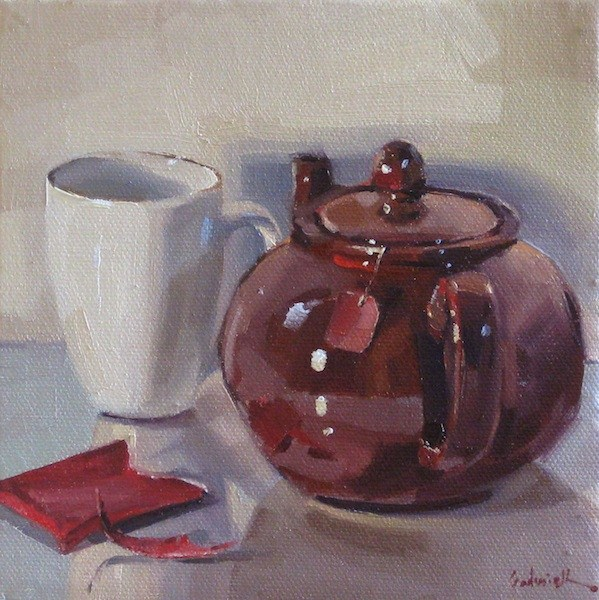 """""""A Pot of Chai tea teapot teacup painting still life daily painting oil on canvas"""" original fine art by Sarah Sedwick"""