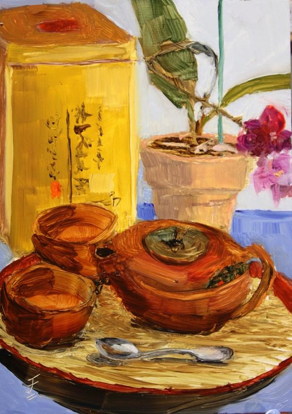 """Gift of Tea"" original fine art by Jane Frederick"