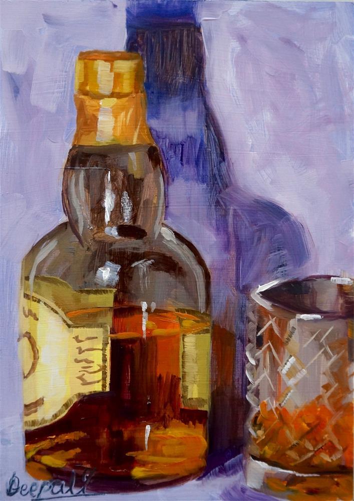 """Bourbone whisky with glass"" original fine art by Dipali Rabadiya"