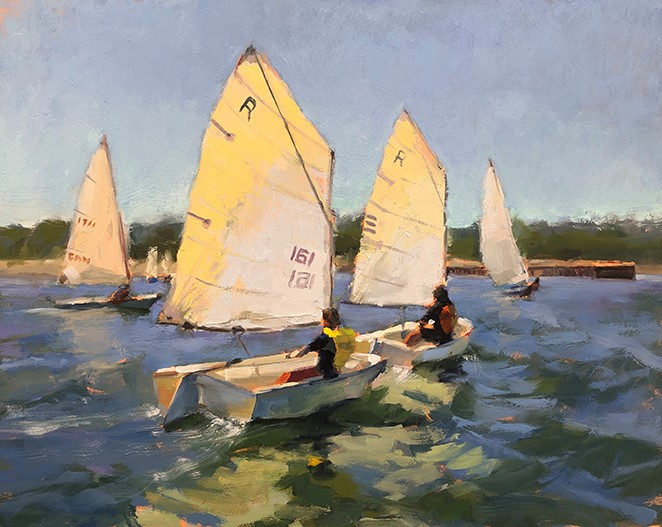 """The Sailing Lesson"" original fine art by Deborah Newman"