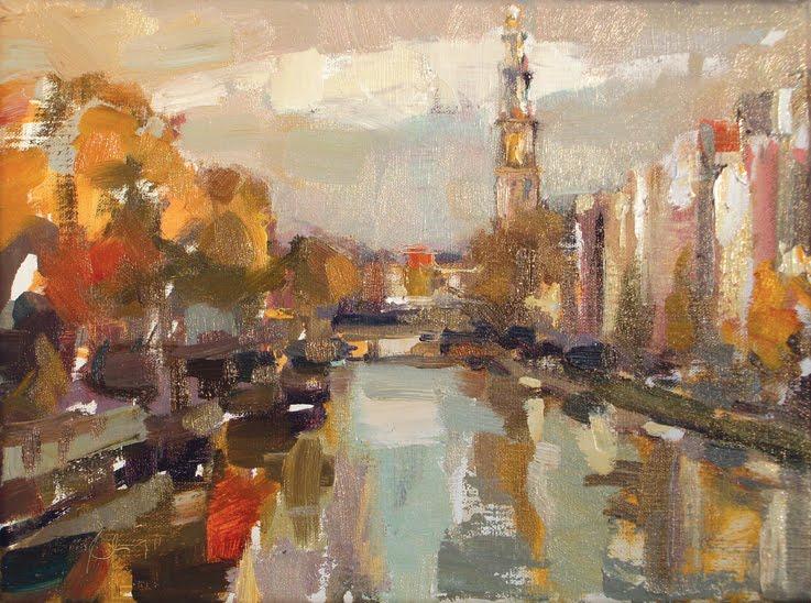"""""""Amsterdam in autumn IV Westertoren"""" original fine art by Roos Schuring"""