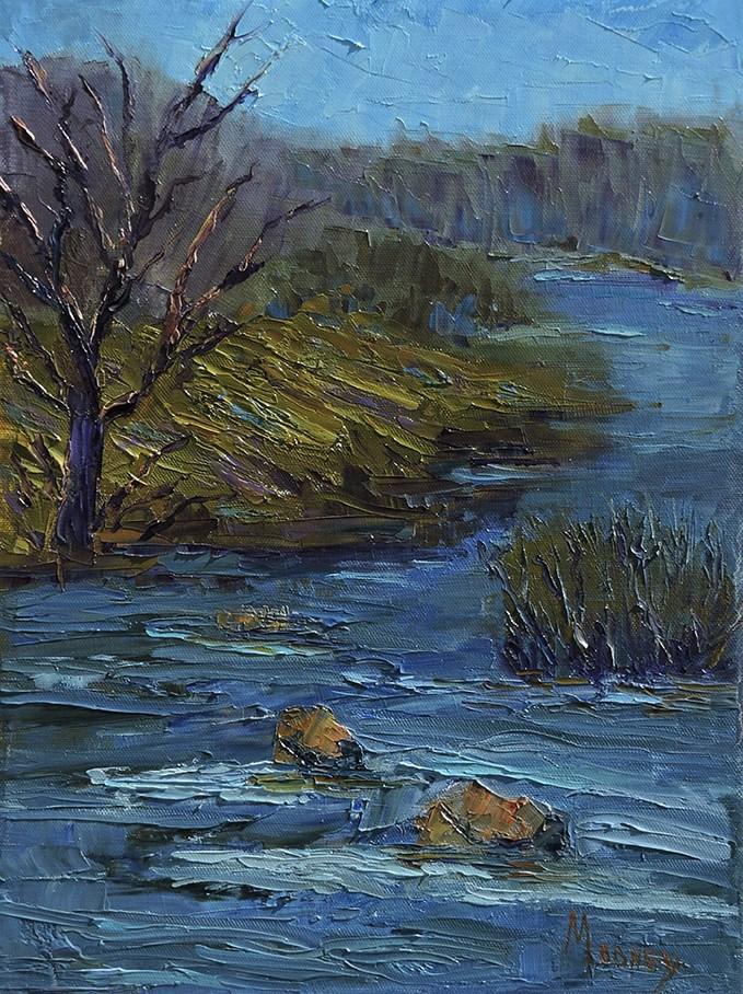 """A River Runs Through It"" original fine art by Linda mooney"