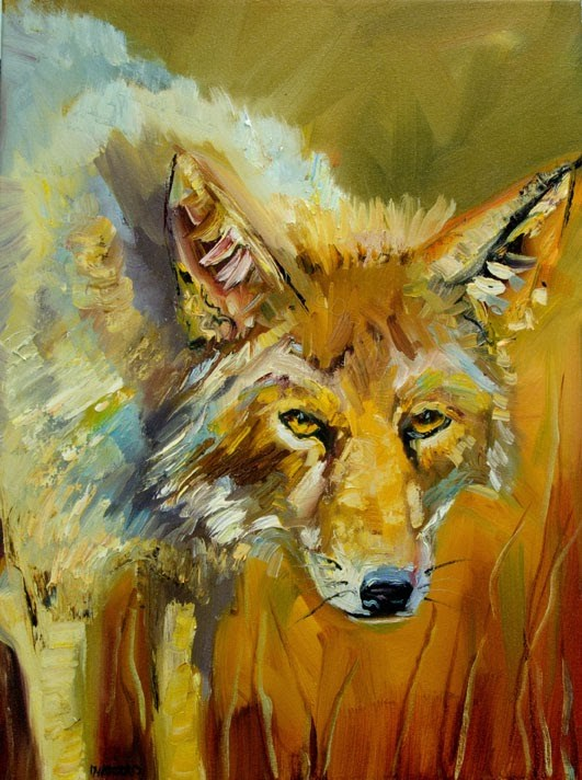 """ARTOUTWEST DIANE WHITEHEAD COYOTE ANIMAL Wildlife art"" original fine art by Diane Whitehead"