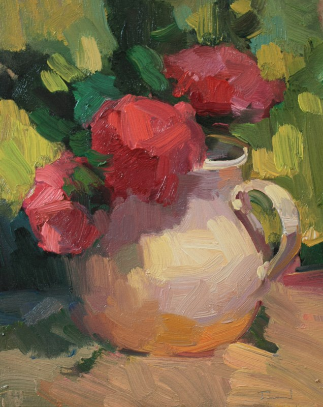 """""""Red Roses White Vase - NFS"""" original fine art by Kathryn Townsend"""