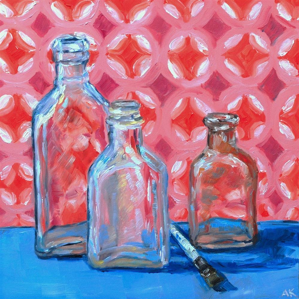 """""""Vintage Bottles 2"""" original fine art by Alison Kolkebeck"""