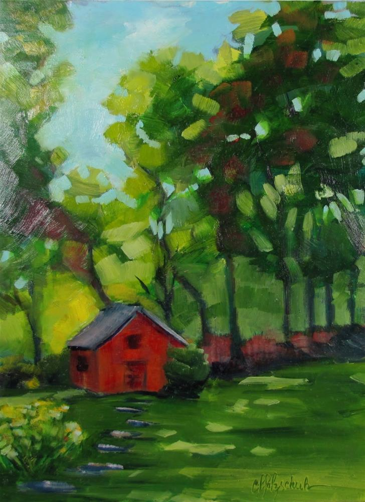 """Little Cabin In the Woods"" original fine art by Christine Holzschuh"