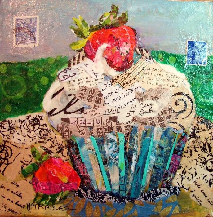 """Arles:City in France, 12084, torn paper collage"" original fine art by Nancy Standlee"