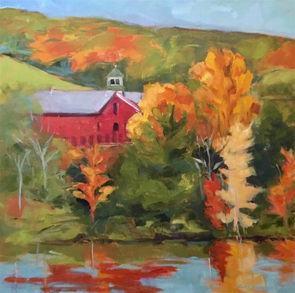 """Barn by Mascoma Lake"" original fine art by Lynne Schulte"