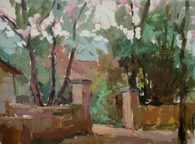 """""""House Gate at Angoin"""" original fine art by Kathryn Townsend"""