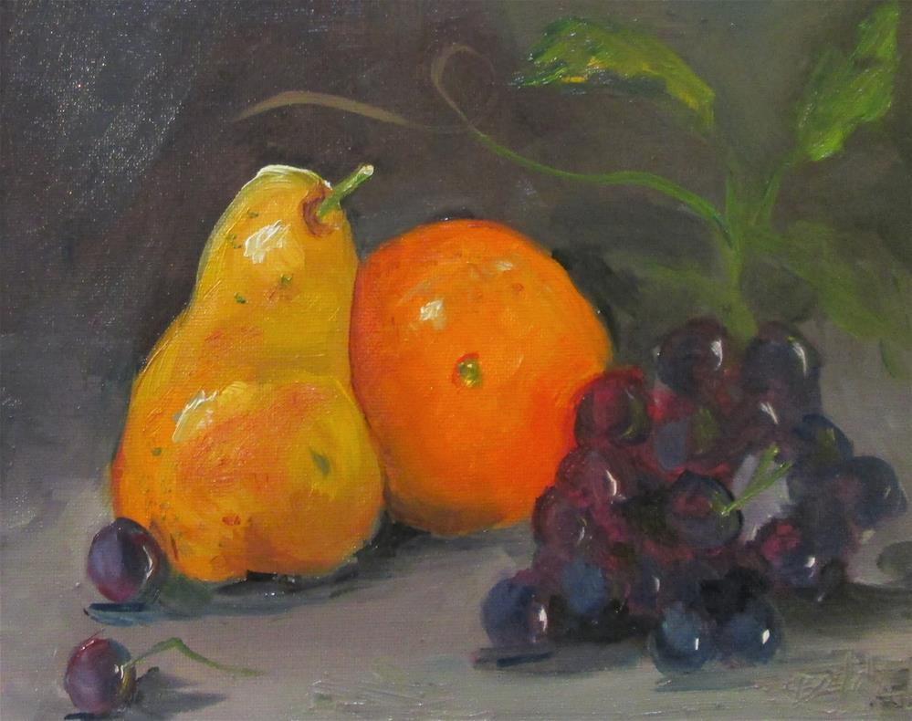 """Pear,Orange,Grapes"" original fine art by Delilah Smith"