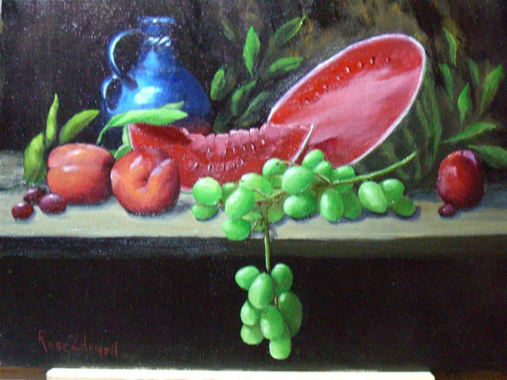 """Watermelon and Grapes"" original fine art by Rose Zdrazil"
