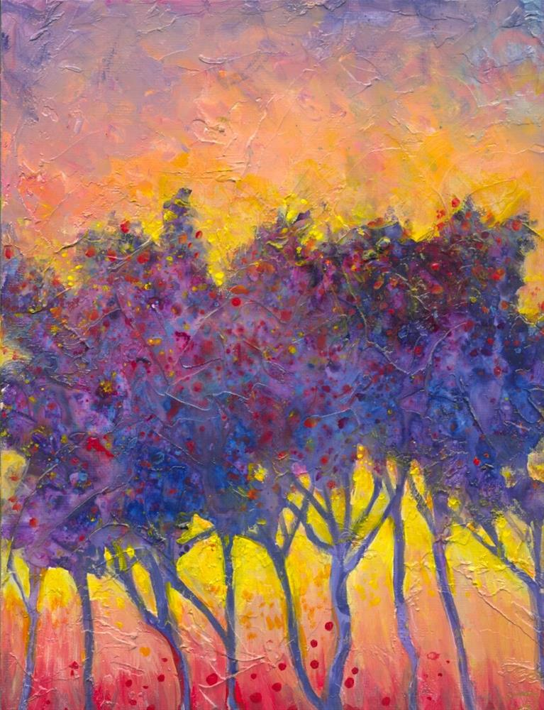 """Purple Twitter Trees"" original fine art by Francine Dufour~Jones"