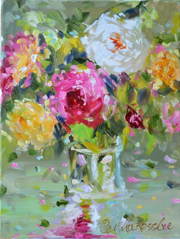 """SHABBY CHIC ROSES"" original fine art by Cecilia Rosslee"