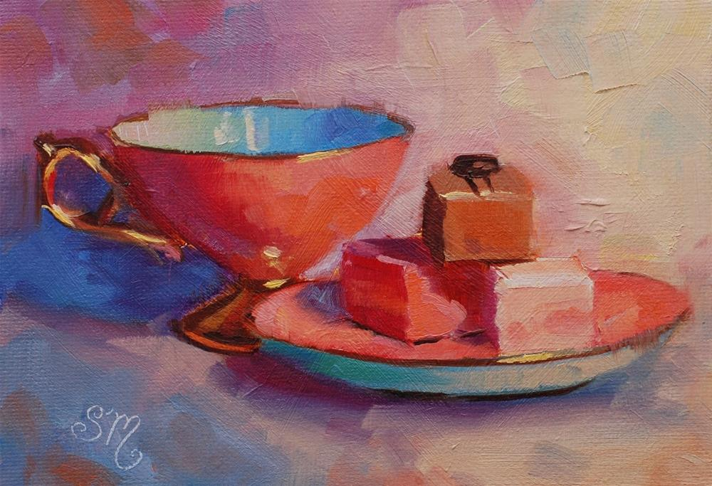 """""""No. 770 Petit Fours with Tea"""" original fine art by Susan McManamen"""