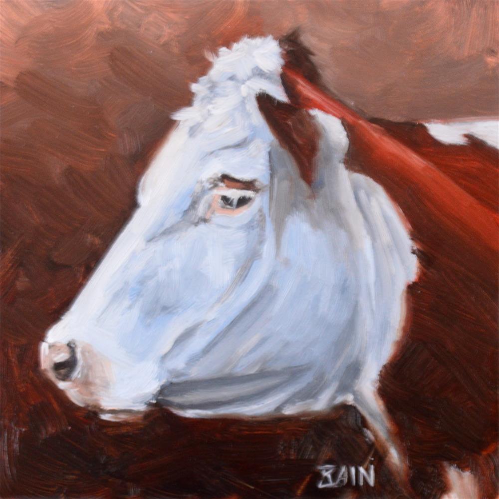 """""""Cow no. 6"""" original fine art by Peter Bain"""