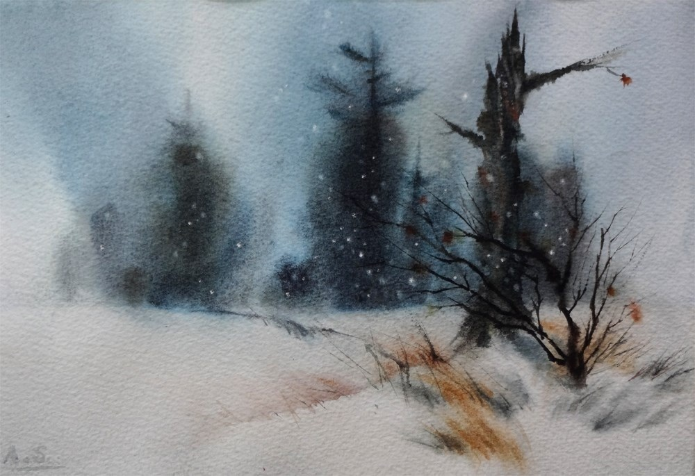 """""""Winter Solitude"""" original fine art by Arena Shawn"""
