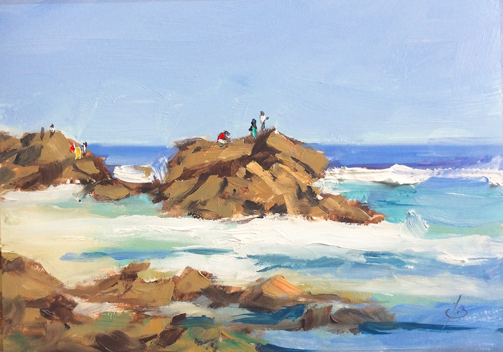 """A DAY AT THE BEACH"" original fine art by Tom Brown"