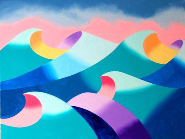 """Mark Adam Webster - Abstract Geometric Ocean Seascape Oil Painting 2012-04-26"" original fine art by Mark Webster"