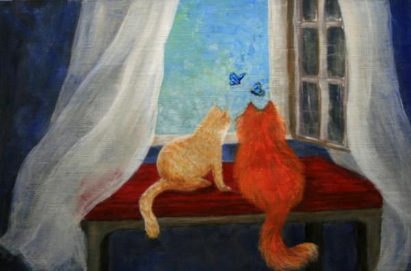 """Purr-fect Seats"" original fine art by Jean Nelson"