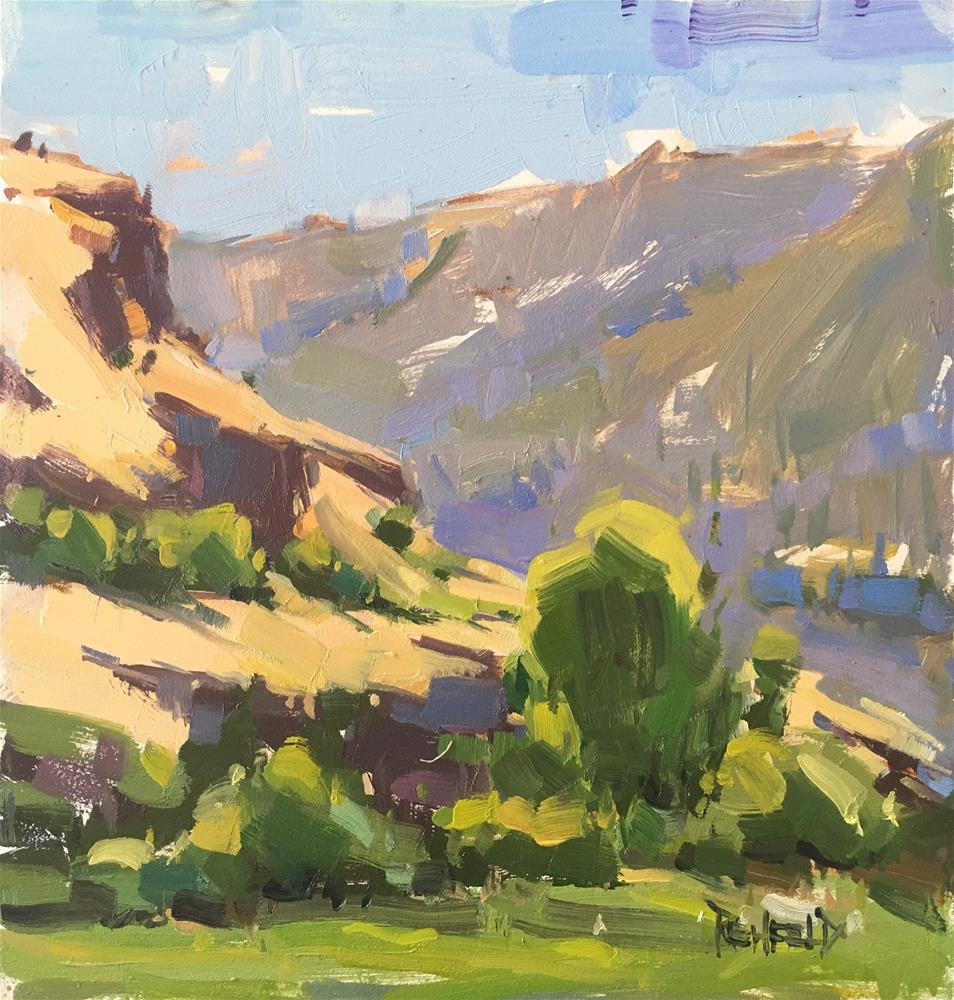 """Lyle WA Cliffs"" original fine art by Cathleen Rehfeld"