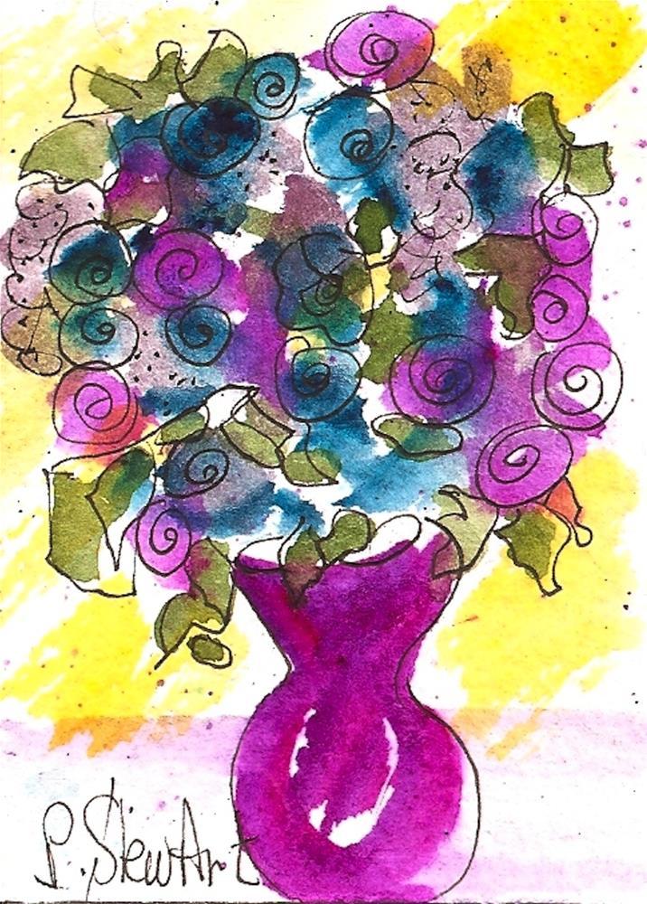 """""""ACEO, Folk Art Flowers in a Fuchsia Vase Loose Watercolor Original Art OOAK"""" original fine art by Penny Lee StewArt"""