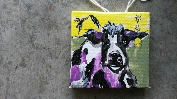 """""""Itty Bitty Cow"""" original fine art by Terri Einer"""