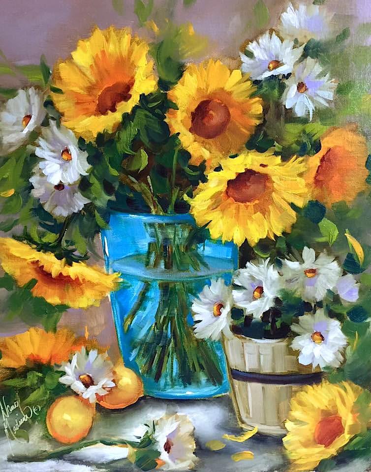 """Lemon Flare Sunflowers and a St. Louis Workshop - Nancy Medina Art Classes and Videos"" original fine art by Nancy Medina"